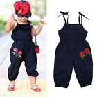 Внешний вид - Kids Girls Strap Flower Sleeveless Romper Jumpsuit Playsuit Outfits Clothes 1-6Y