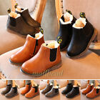 Kids Boy Girl Winter Warm Lined Chelsea Ankle Boots Faux Leather Shoes Xmas Gift