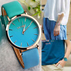 Unisex Studern Girl Watches Leather Band Round Analog Alloy Quartz Wrist Watches