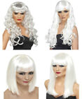Ladies White Wig Halloween Ghost Skeleton Fancy Dress