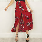 Women  High waist print long flower skirt  floral print split maxi skirt Beach