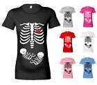 WOMENS HALLOWEEN SKELETON BABIES TWINS MATERNITY T SHIRT PREGNANCY T SHIRT GIFT