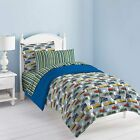 Twin Full Size Bed Bag Red Green Blue Trains Stripes 7 pc Comforter Sheet Set