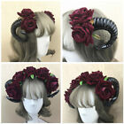 Gothic Devil Sheep Horn Rose Flower Headband Halloween Party Cosplay Headdress