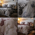 TARTAN CHECK STAG DEER ANIMAL QUILT DUVET COVER NATURAL GREY WINTER CHRISTMAS