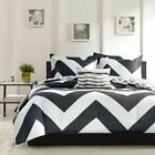 NEW Twin XL Full Queen King Bed 4 pc Black White Chevron ...