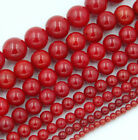 Red Natural Coral Gemstone Round Spacer Beads 15.5