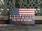 PERSONALIZED American Flag Canvas, Welcome To Our Home, Military Patriotic Gift