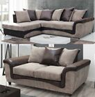 Aston Fabric Corner Sofa Left Right Leather Brown and Coffee 3 + 2 Seater Set
