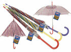 GIRLS MULTI COLOUR CANDY STRIPE AUTO UMBRELLA/BROLLY -RED/YELLOW/PURPLE HANDLE