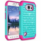 Samsung Galaxy S6 Active Case, Diamond Studded Crystal Dual