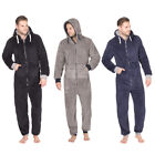 ONEZEE Mens Snuggle Zip Up All-In-One Super Soft Fleece Hooded Warm Jumpsuit