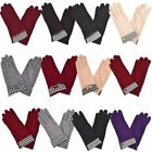 Womens New Wool Dog Tooth Button Bow Detail Winter Gloves