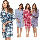 LADIES BOYFRIEND LONG CHECK NIGHTSHIRT 100% COTTON  BUTTON UP WINTER NIGHTIE