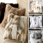 Throw Home Decorative Real Rabbit Fur Pillow Plush Case Cushion Cover Charm Soft