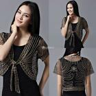 Women Open Front Short Sleeve Mesh See Through Embroidery Shawl Coat DZ88