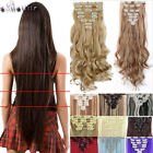 Real Thick Clip in Full Head Hair Extensions Extension Black Brown Blonde XY81
