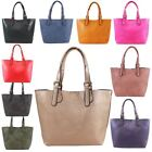 New Faux Leather Additional Bag Plain Twin Handles Ladies Tote Bag