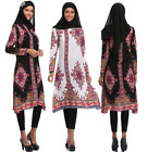 Islamic Abaya Print Loose Shirt Dress Elegant Muslim Hui Women Blouse Tops Dress