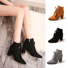 Fashion Ladies Women High Block Heel Lace Up Fringe Ankle Boots Shoes Size