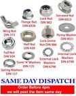 A2 Stainless Steel Wing Serrated Flange Half Lock Nuts Lock Spring Penny Washers
