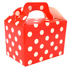 RED POLKA DOTS Kids Party Lunch Boxes Birthday Box Wedding Food Bag Meal Gift