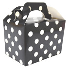BLACK POLKA DOTS Kids Party Lunch Boxes Birthday Box Wedding Food Bag Meal Gift
