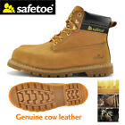 Safetoe Yellow Leather Safety Shoes Boots Mens Steel Toe Hiking Work US Size7-12