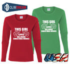 Womens Girl Loves Hallmark Christmas Movies Long Crew Neck S