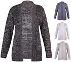 Womens Plus Size Thick Knit Knitted Marl Long Sleeve Pocket Open Cardigan Jumper