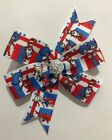 DR SEUSS THING 1 AND THING 2 RED, BLUE AND WHITE PINWHEEL BOW HAIR CLIP