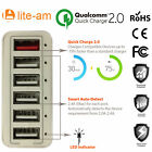 Lite-am® Multi Port USB Charger With CQ 2.0 For Smart phone, iPhone and TAB,s