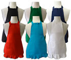 1 CHILD APRON UR CHOICE TURQUOISE OR RED RUFFLED 100% COTTON PERSONALIZED W/NAME