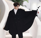 Mens Wool Blend Coats Cloak Double Breasted Korean Loose Lapel Trench A1618