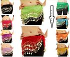 Kyпить 3 ROWS Belly dance costume belt skirt hip wrap outfit gold coin bead scarf на еВаy.соm