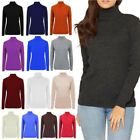 NEW LADIES KNITTED RIBBED LONG SLEEVE TURTLE NECK WARM JUMPER UK 8-16