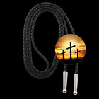 THREE CROSSES BOLO TIE 32001 button western Christian Easter cross novelty ties