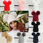 Braided Crochet Wool Knit Beanie Beret Ski Ball Cap Baggy Womens Baby Winter Hat