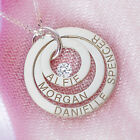 9ct White Gold Personalised Three Ring Family Pendant Necklace With Crystal