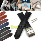 Mens Womens Genuine Leather Watch Strap Band Croco Deployment Clasp Spring Bars image