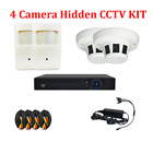 4CH HD 1.3MP Hidden CCTV Surveillance Camera Kit PIR Smoke Detector