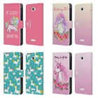 HEAD CASE DESIGNS SASSY UNICORNS LEATHER BOOK WALLET CASE FOR SONY PHONES 2