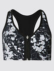 EX M&S Extra High Impact Zip Front Non-Wired Sports Bra A-G WHITE MIX (M15)