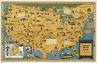 Внешний вид - Indians of the USA Native American Tribes Mid-century Pictorial Map Wall Poster