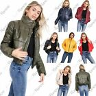 New Womens Bubble Puffer Padded Quilted Collared Wetlook Crop Jacket Warm Coat