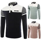 Fashion Mens' Patchwork Long Sleeve Casual Polo Shirt Lapel Slim-fit Blouse Tops
