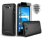 BRUSHED COVER PHONE CASE FOR [HUAWEI ASCEND XT2] +BLACK TEMPERED GLASS