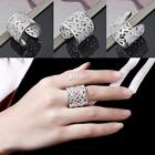 New Crystal Opening Design Hollow Out Peach Heart Pattern Ring Jewelry DZ88
