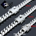 "18-40""MEN Stainless Steel 10/12/14mm Silver Miami Cuban Curb Chain Necklace N158"