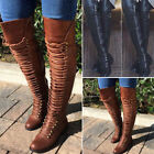 Women Knee High Boot Lace Up Bandage Thigh High Combat Low Heel Boots Flat Shoes